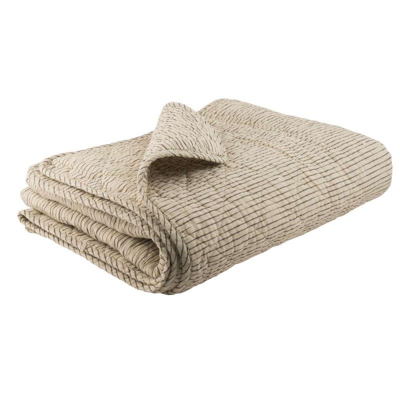 IB Laursen Quilt sand gestreift Plaid creme Tagesdecke mit Streifen