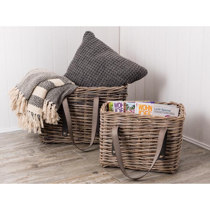 ib laursen rattan korb mit henkeln 51 cm korb f r. Black Bedroom Furniture Sets. Home Design Ideas
