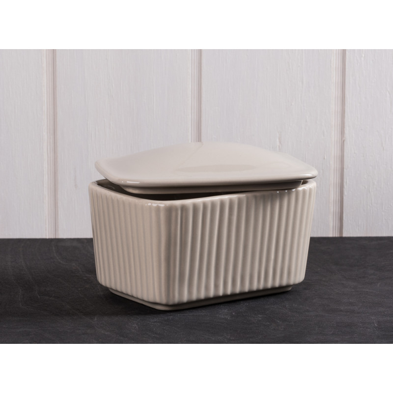 IB Laursen Salzdose beige mit Deckel aus Keramik Mynte Keramik Kollektion Butterdose Latte