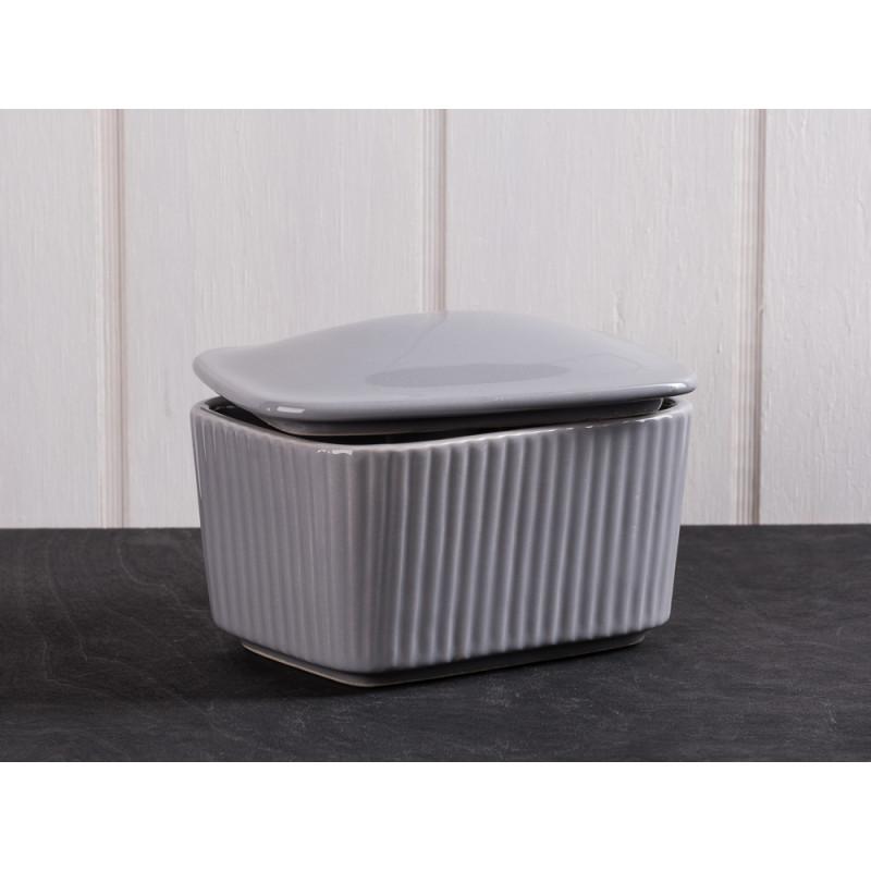 IB Laursen Salzdose grau mit Deckel aus Keramik Mynte Keramik Kollektion Butterdose French Grey