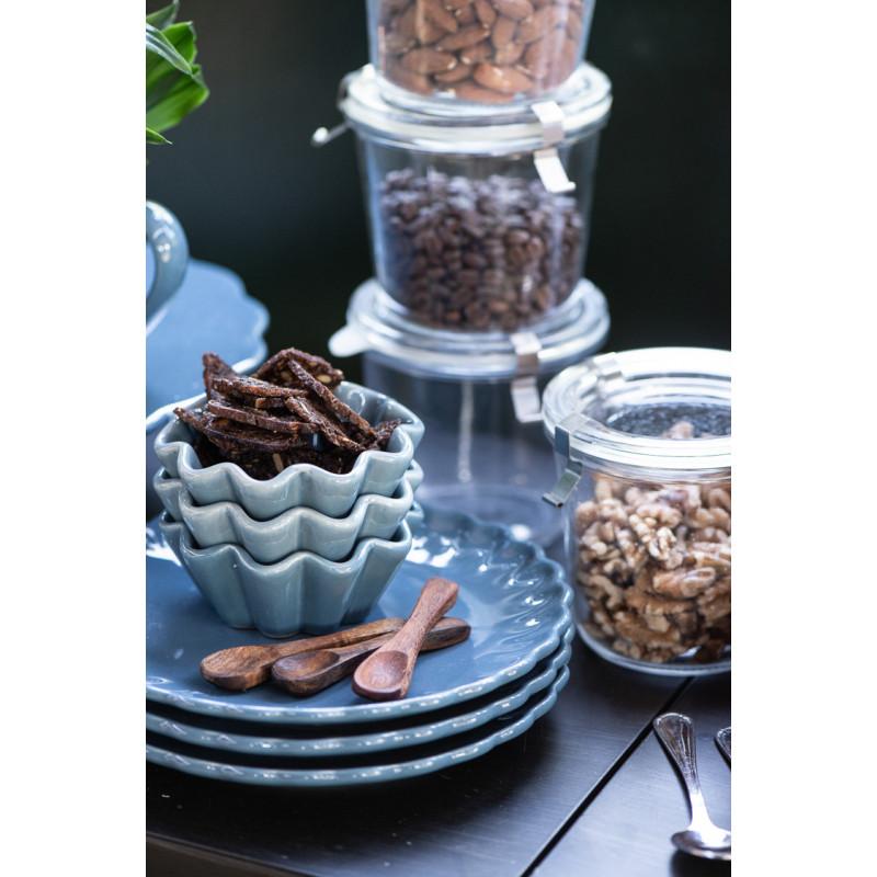 IB Laursen Salzlöffel aus Akazienholz Holzlöffel Länge 85 mm mit Mynte Geschirr Muffinschalen und Kuchenteller Teller Keramik blau