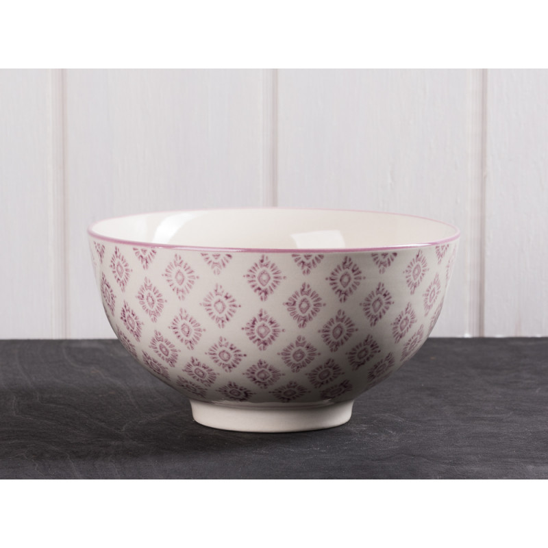 ib laursen schale casablanca gro lila farbiges blumen muster auf wei er keramik sch ssel. Black Bedroom Furniture Sets. Home Design Ideas