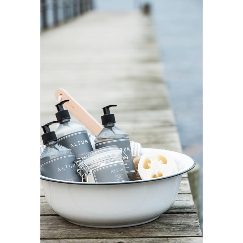 IB Laursen Schale Waschgefäß Emaille Schüssel 34 cm Weiß Waschschüssel für Badezimmer mit Seife