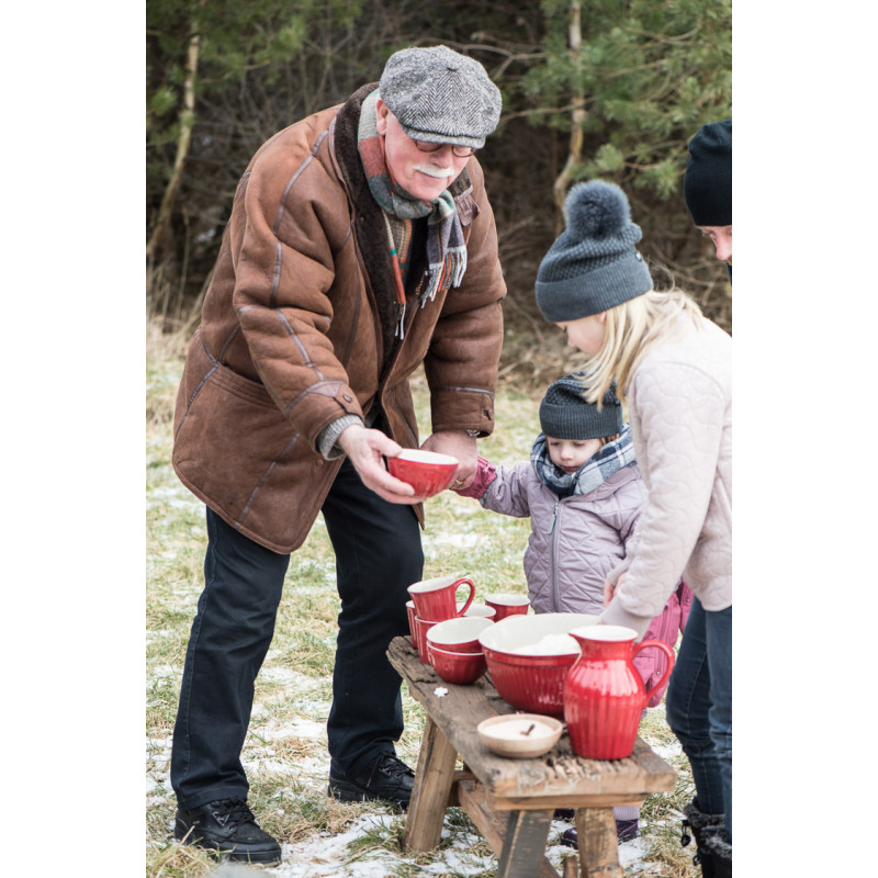 IB Laursen Schalensatz Akazie 3er Set Tapas Holzschalen mit Geschirr Mynte in rot Kanne Schuesseln Schalen Becher ganze Familie