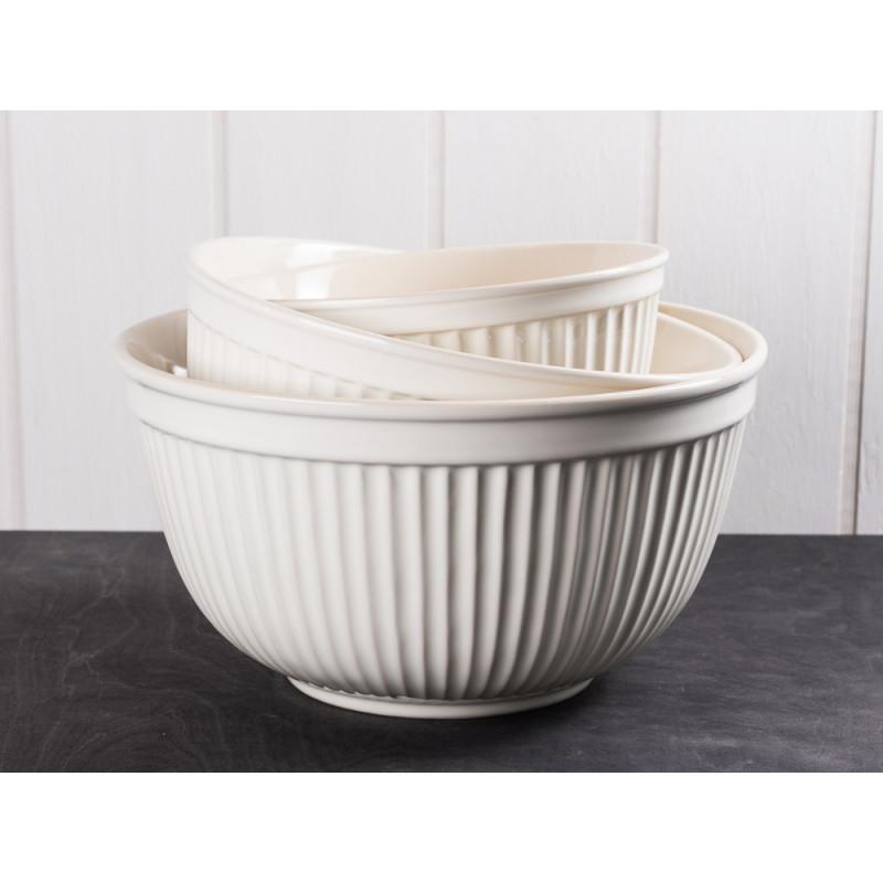 IB Laursen Schalensatz creme weiß Mynte Keramik Kollektion Butter Cream 3er Set Schüsseln