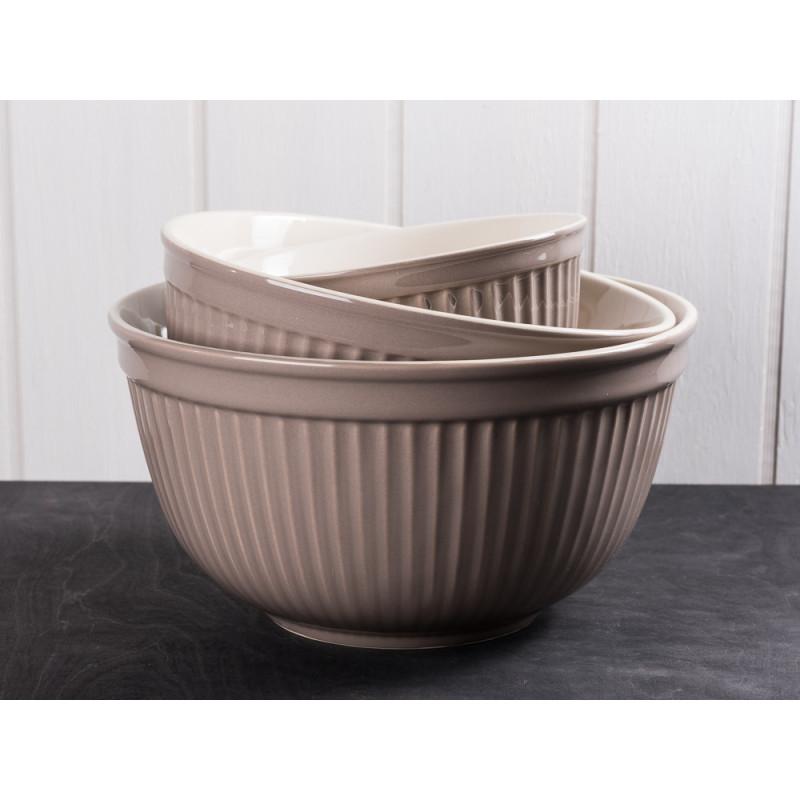 IB Laursen Schalensatz hellbraun Mynte Keramik Kollektion Milky Brown 3er Set Schüsseln