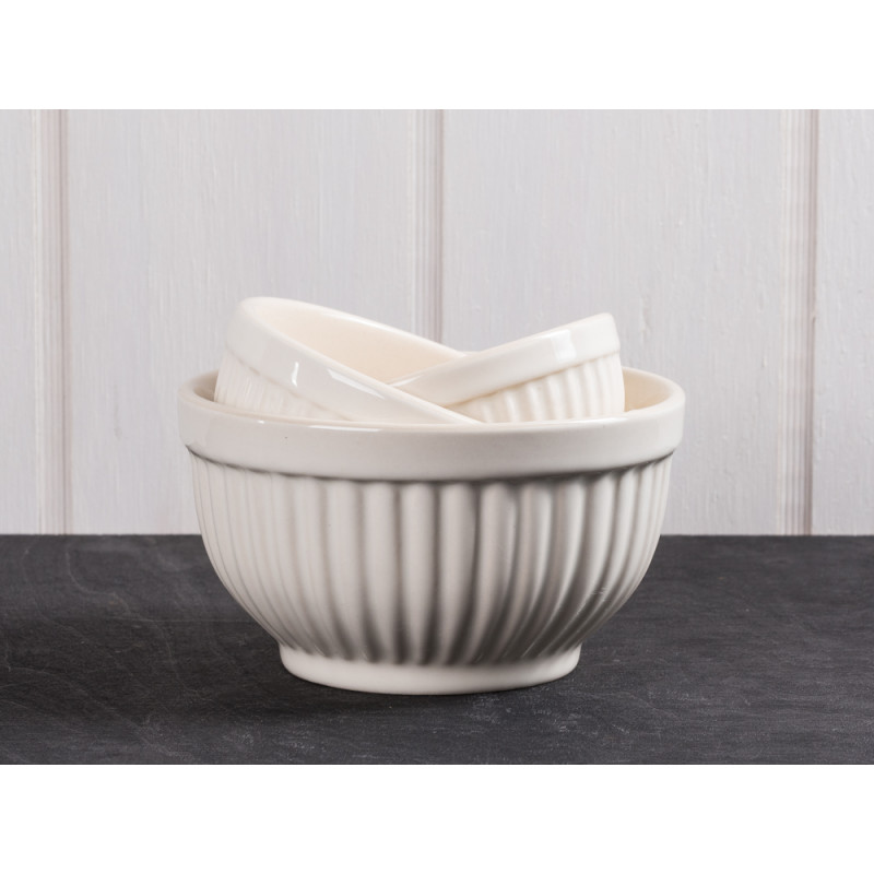 IB Laursen Schalensatz Mini creme weiß Mynte Keramik Kollektion Butter Cream 3er Set Schüsseln