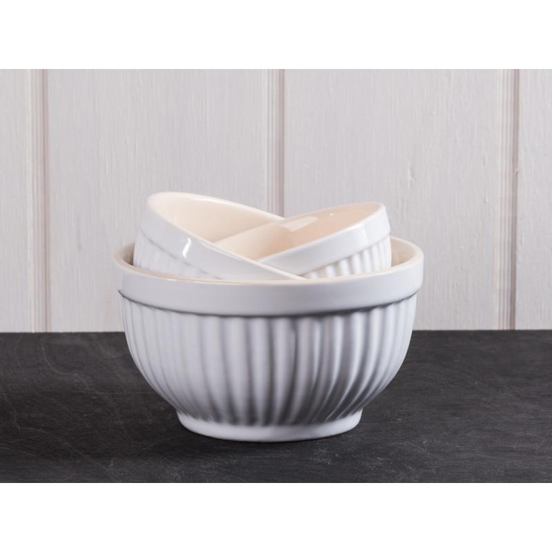 IB Laursen Schalensatz Mini weiß Mynte Keramik Kollektion Pure White 3 Schüsseln im Set klein