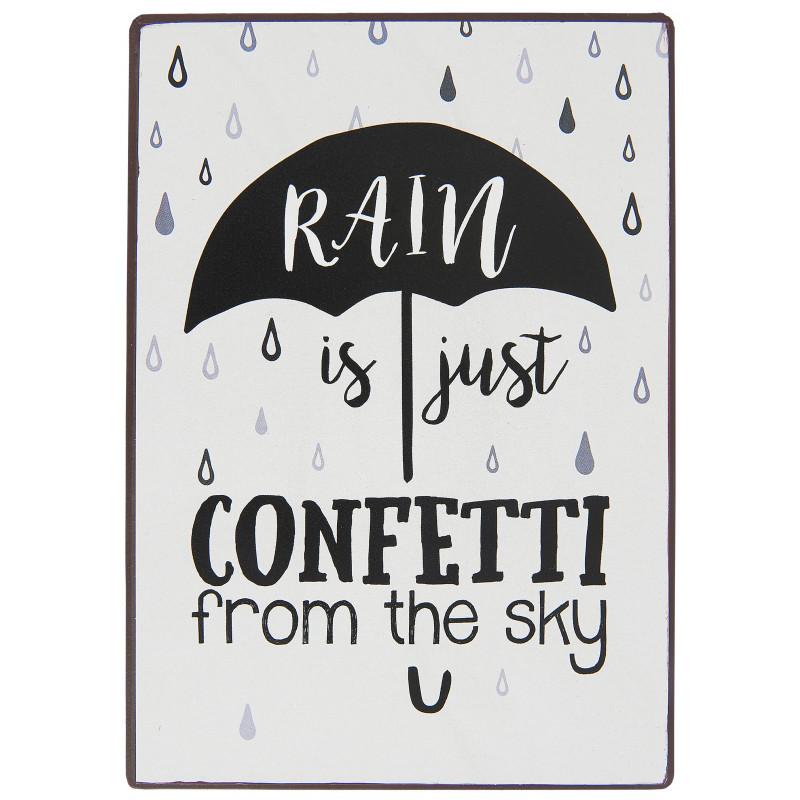 IB Laursen Schild Rain is just confetti from the sky Deko Metallschild