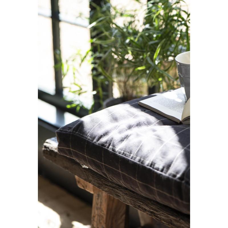IB Laursen Sitzkissen Bezug in schwarz mit feinem Karo Muster