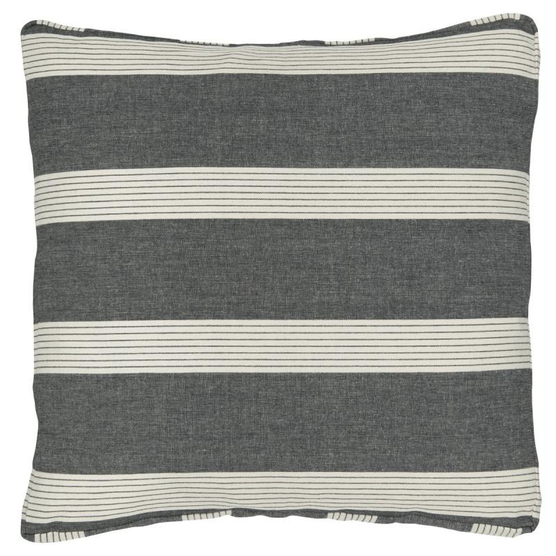 IB Laursen Sitzkissen Bezug schwarz mit hellen Streifen