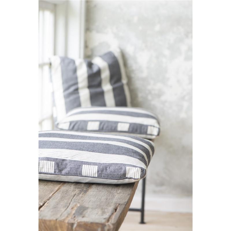 IB Laursen Sitzkissen schwarz mit hellen Streifen Kissenhülle