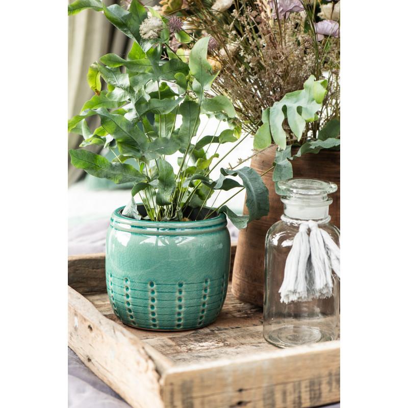 IB Laursen Tablett Unika mit Griffen 60 cm aus Holz als Dekoration mit Pflanzen und Blumentopf