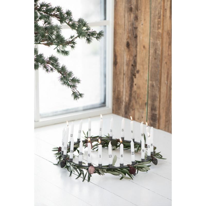 IB Laursen Tannenbaumkerzen weiss mit Zahlen 1 bis 24 Kerzen Adventskranz Adventskalender