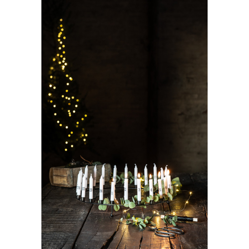 IB Laursen Tannenbaumkerzen weiss mit Zahlen 1 bis 24 Kerzen für Adventskalender Landhaus modern