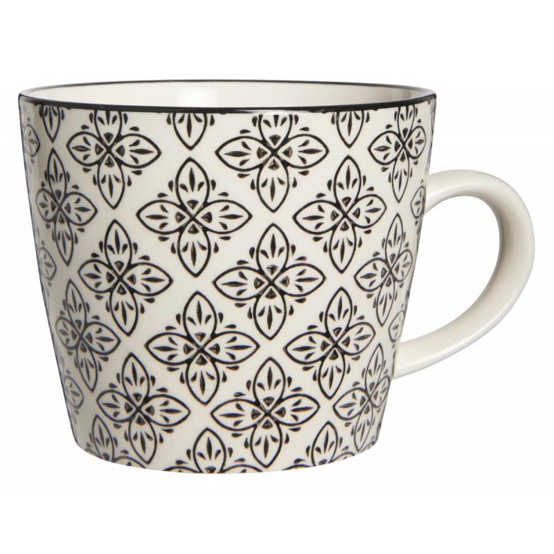 IB Laursen Tasse Casablanca schwarz weiß Blumen Muster