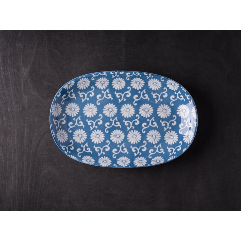 IB Laursen Teller Liva oval staubig blau weiß mit Blumen
