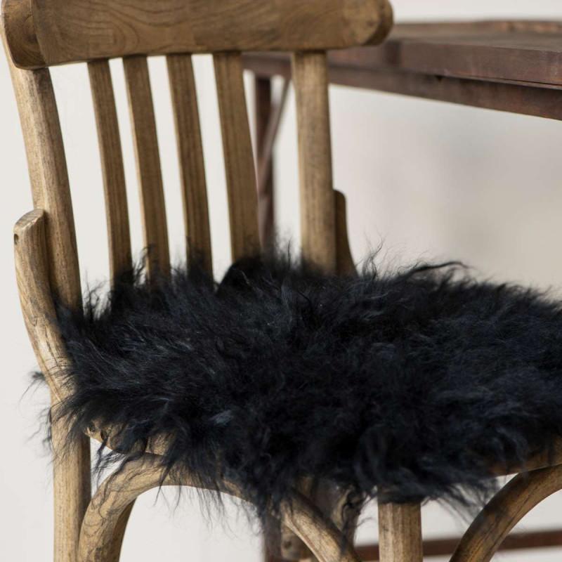 IB Laursen Tibetisches Lammfell Sitzkissen schwarz
