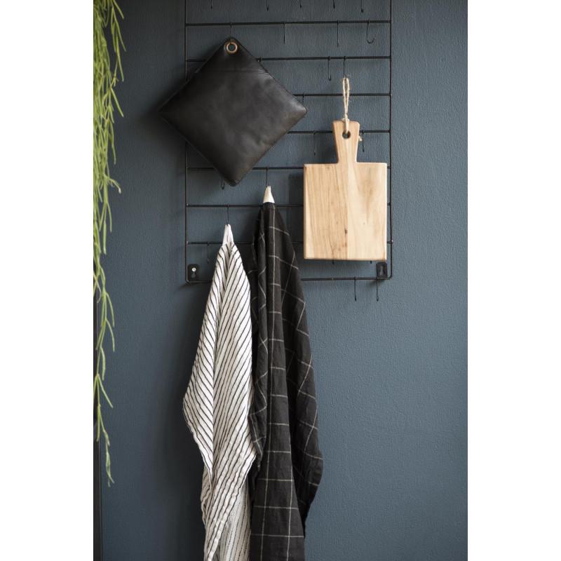 IB Laursen Topflappen Leder schwarz zum Grillen oder für Kamin Ofen mit IB Laursen Geschirrtuch schwarz mit Karo Muster