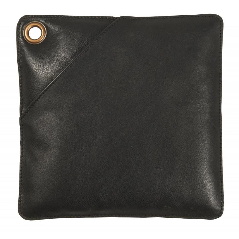 IB Laursen Topflappen Leder schwarz zum Grillen oder für Kamin Ofen