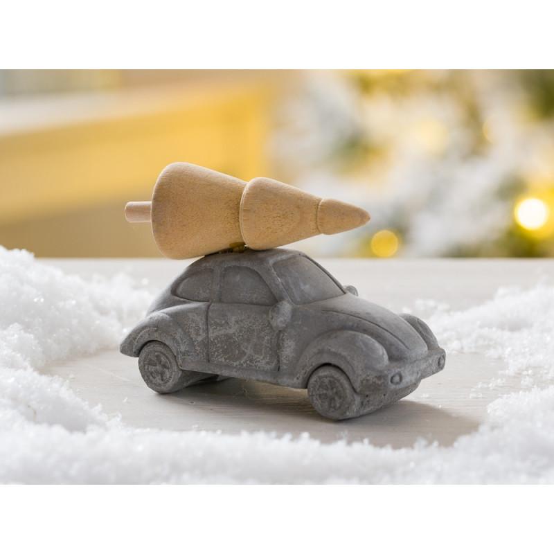 IB Laursen Weihnachtsdeko Auto mit Baum auf Dach aus Beton und Holz kleine Ausführung