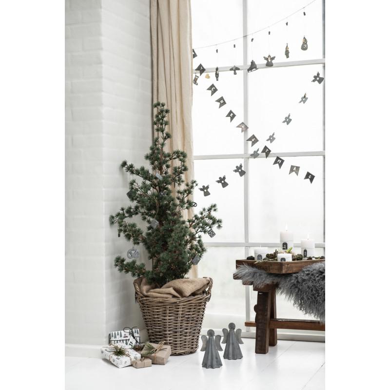 IB Laursen Weihnachtsdeko Band Merry Christmas Weihnachts Girlande Metall Grau Baum Dekoration