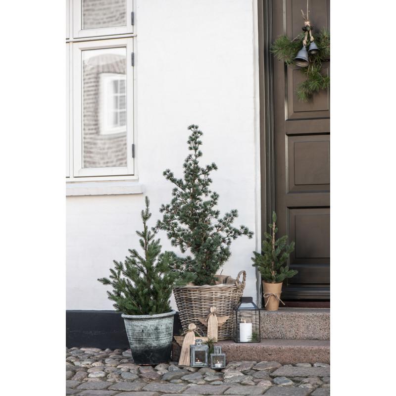 IB Laursen Weihnachtsdeko Glocke Hänger aus Metall Grau Türkranz Dekoration
