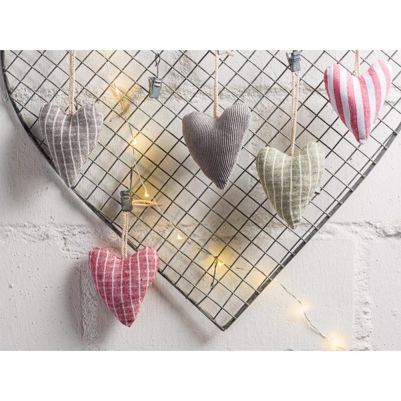 IB Laursen Weihnachtsdeko Hänger Herz aus Baumwolle 6 Muster sortiert Adventsdekoration und Geschenkidee