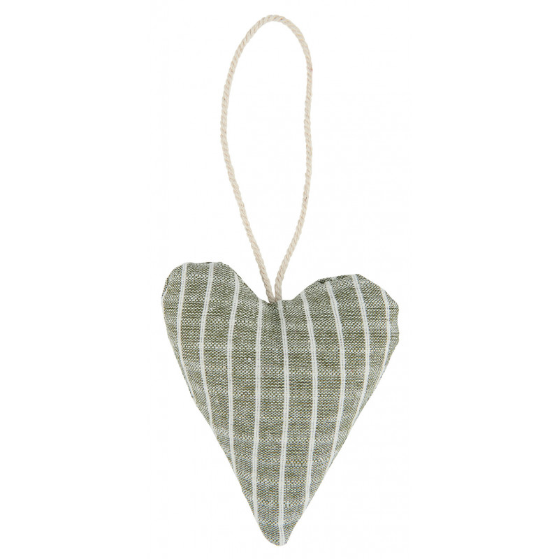 IB Laursen Weihnachtsdeko Hänger Herz aus Baumwolle Grün Nadelstreifen