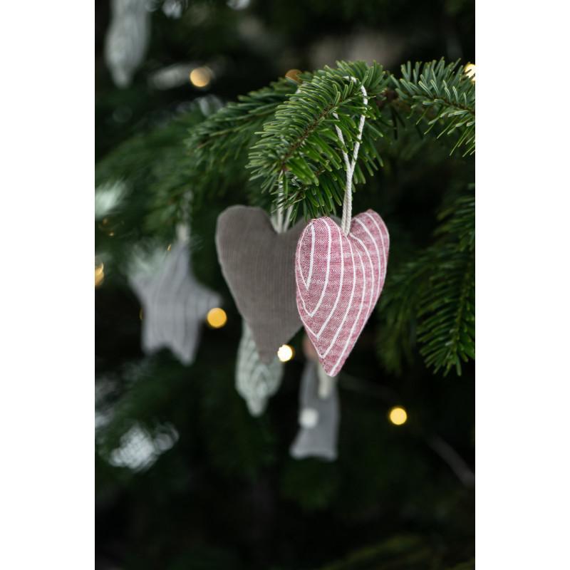 IB Laursen Weihnachtsdeko Hänger Herz aus Baumwolle Rot Nadelsteifen Baumschmuck Weihnachtsbaum