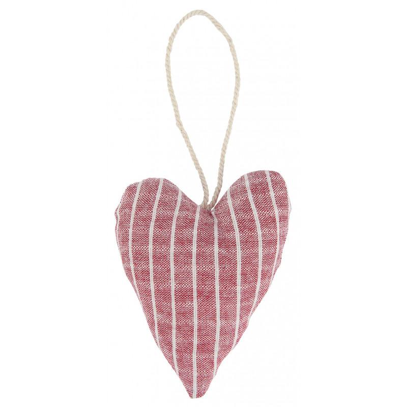 IB Laursen Weihnachtsdeko Hänger Herz aus Baumwolle Rot Nadelsteifen