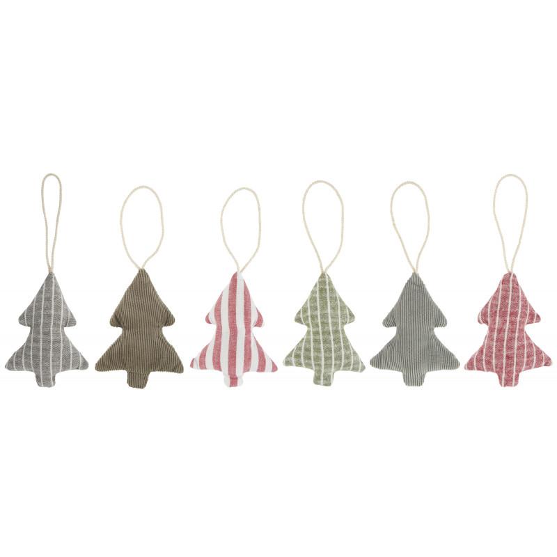 IB Laursen Weihnachtsdeko Hänger Tannenbaum aus Baumwolle 6 Muster sortiert