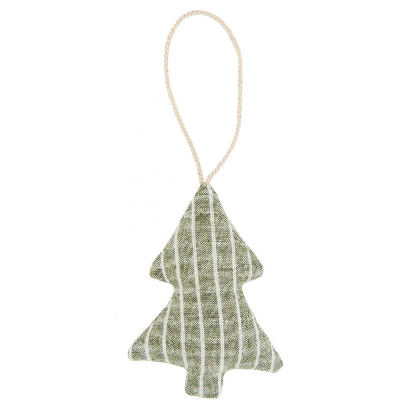 IB Laursen Weihnachtsdeko Hänger Tannenbaum aus Baumwolle Grün Nadelsteifen