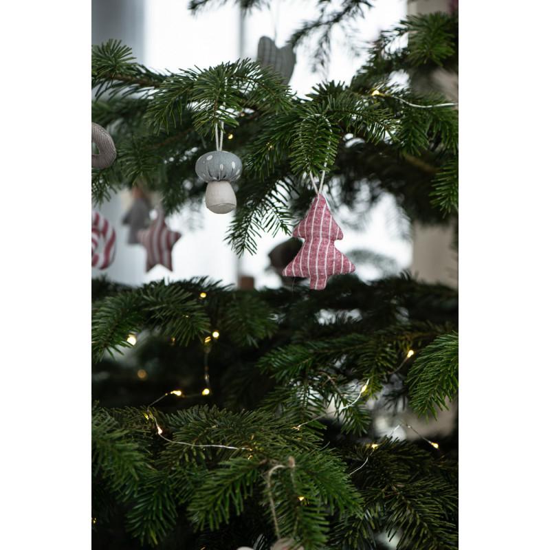 IB Laursen Weihnachtsdeko Hänger Tannenbaum aus Baumwolle Rot Weiss Grau Baumschmuck Weihnachtsbaum