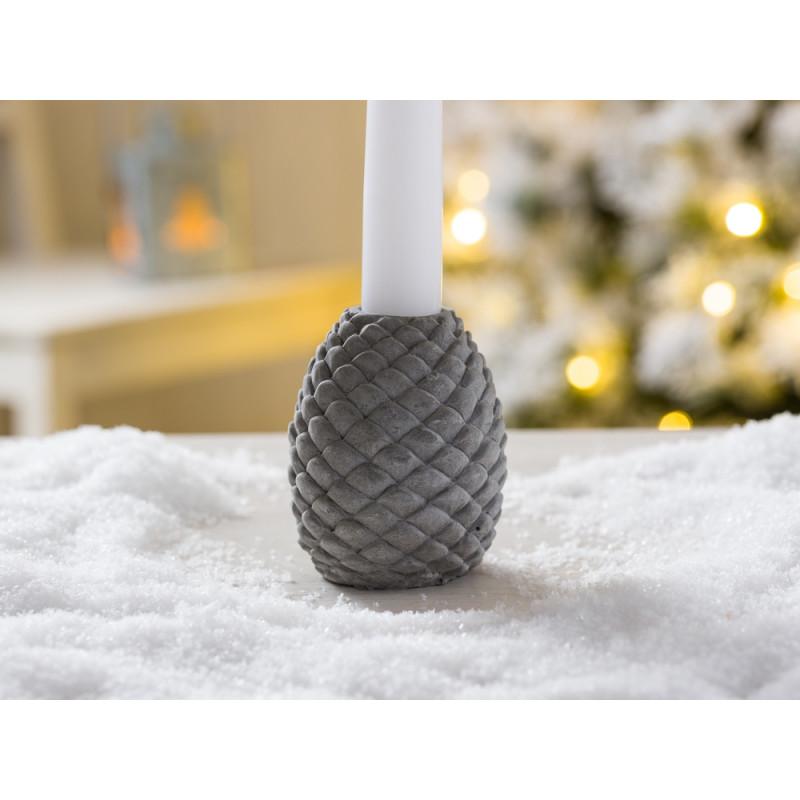 IB Laursen Weihnachtsdeko Kerzenhalter in Zapfen Form aus Beton in grau