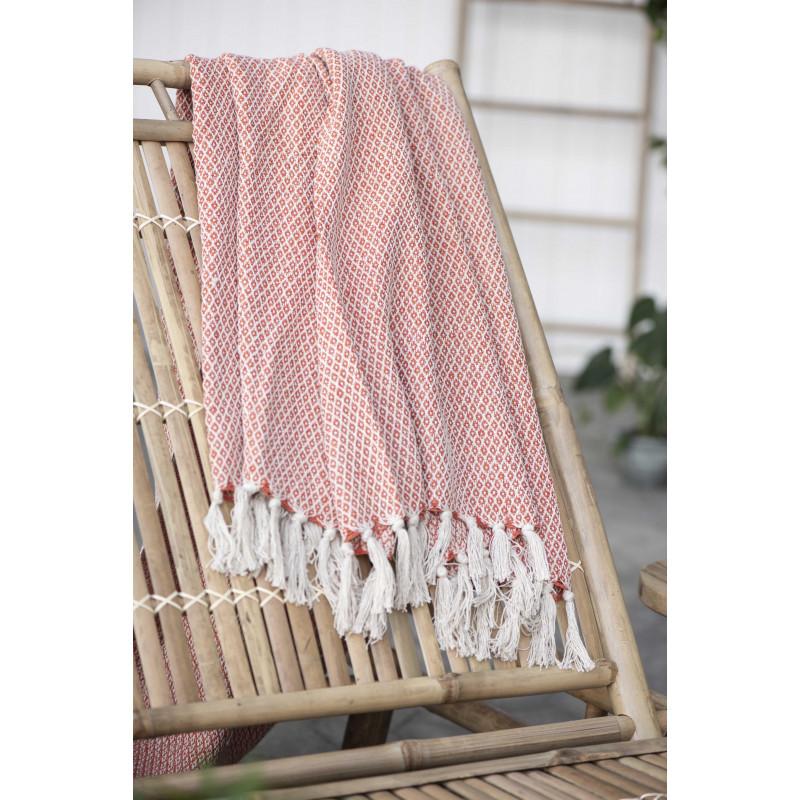 IB Laursen Wolldecke Orange Creme aus Baumwolle Plaid Muster und Farbe im Detail