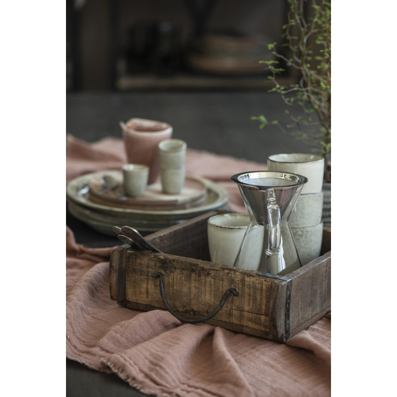 IB Laursen Ziegelform Kiste mit Henkeln aus Holz UNIKA Kiste 25x30 mit Griffen zum servieren und als Dekoration auf dem Tisch