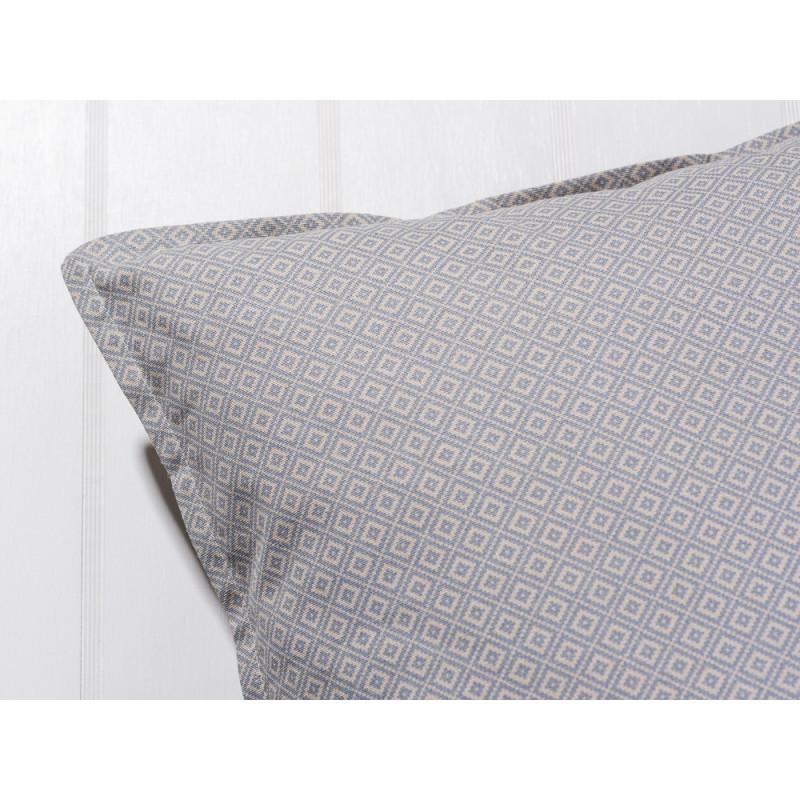 IBLaursen Kissenhülle 50x50 Baumwolle blua Karo Muster und Keder im Detail