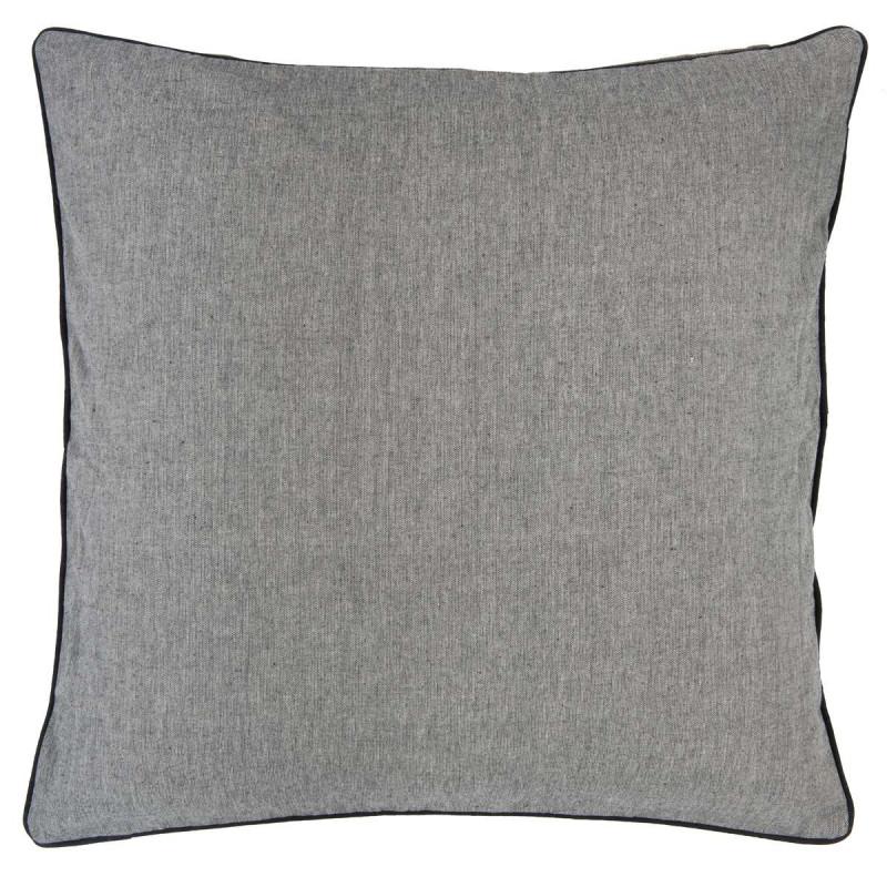 kissenbezug schwarz grau gewebt aus baumwolle mit schwarzem keder gr e 60 x 60 cm kissenh lle. Black Bedroom Furniture Sets. Home Design Ideas