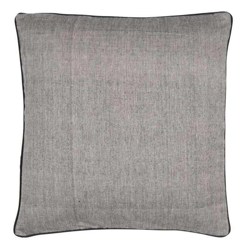Kissenbezug schwarz grau gewebt mit schwarzem Keder 50 x 50 cm IB Laursen