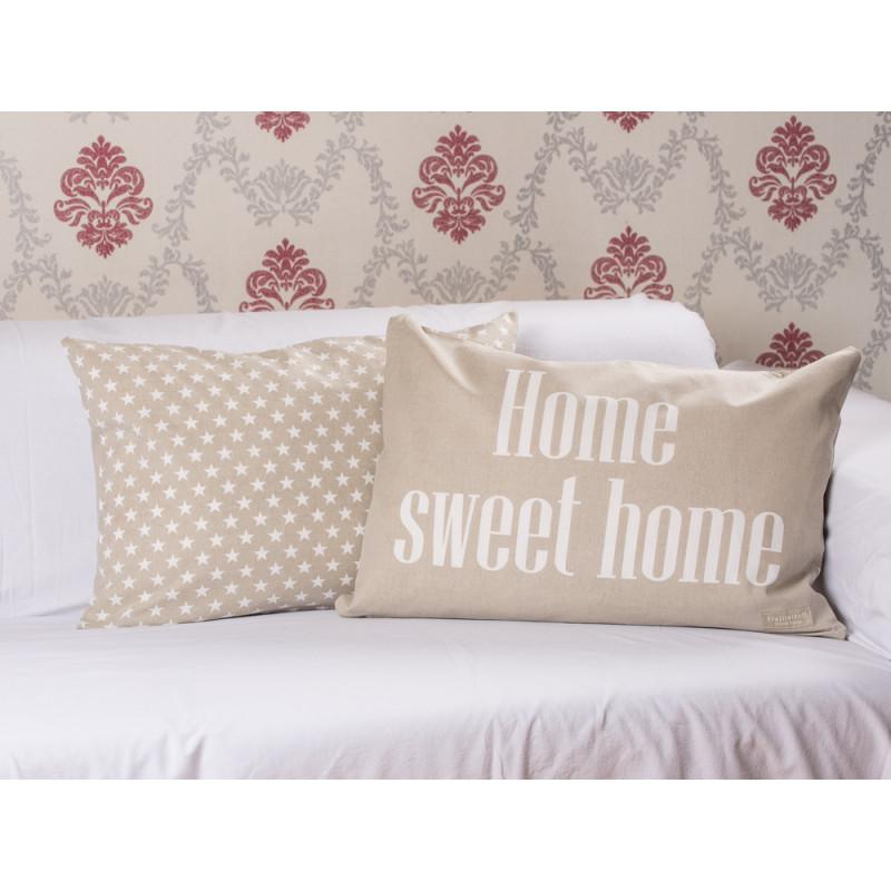 Kissenhuelle Home sweet home taupe Krasilnikoff