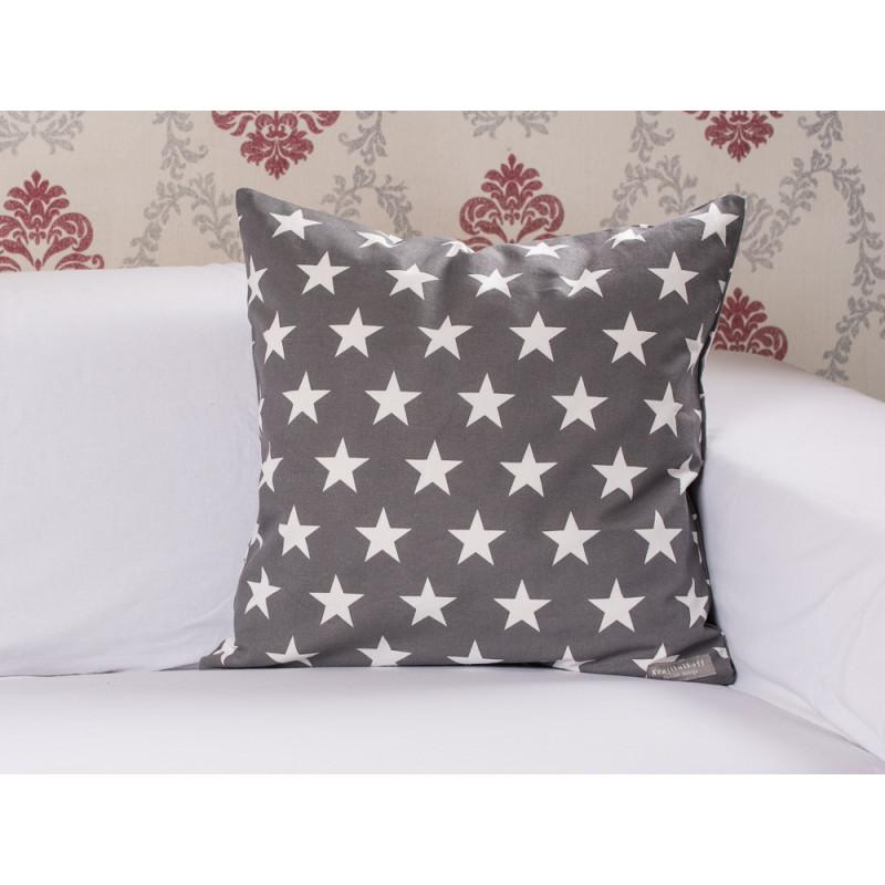 cushion cover stars charcoal kissenh lle grau mit sternen. Black Bedroom Furniture Sets. Home Design Ideas