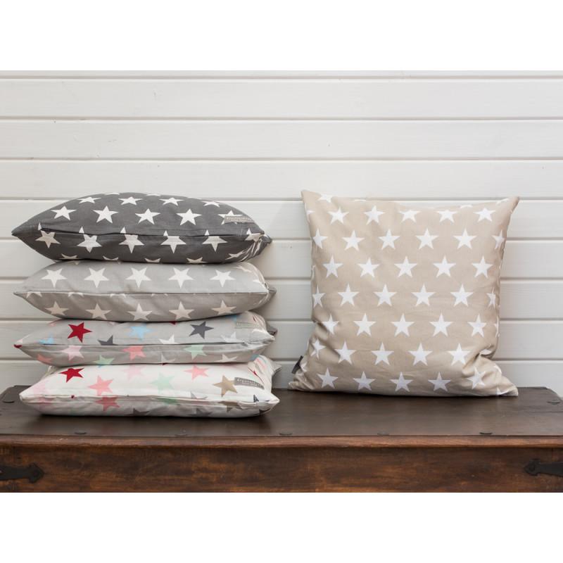 cushion cover stars taupe kissenh lle sand mit sternen. Black Bedroom Furniture Sets. Home Design Ideas