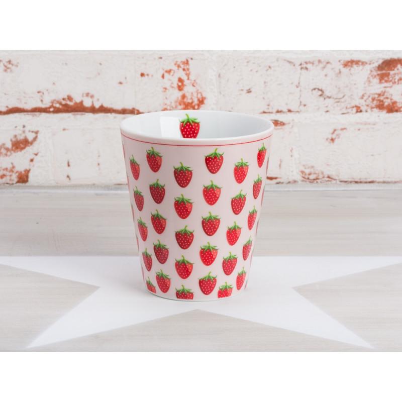 Krasilnikoff Becher Erdbeeren Happy Mug rosa mit roten Erdbeeren
