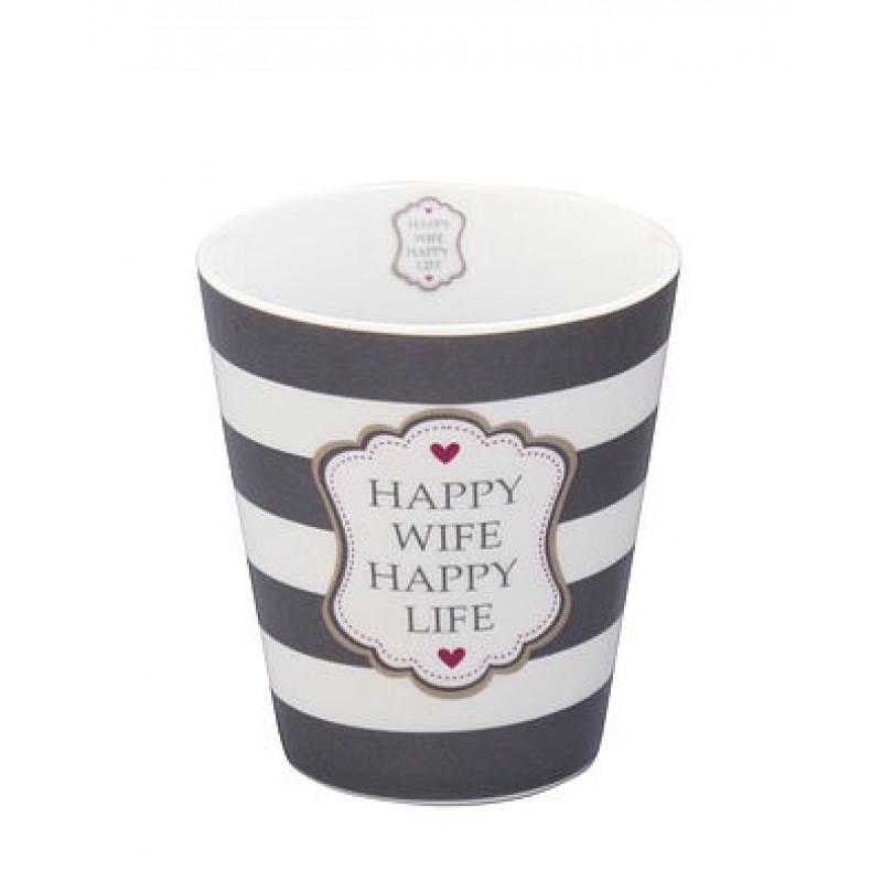 Krasilnikoff Becher Happy Mug Happy Wife Happy Life dunkelgrau weiß gestreift mit roten Herzen