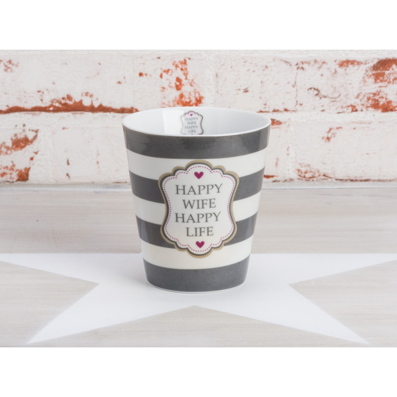 Krasilnikoff Becher Happy Wife Happy Life grau weiß Streifen Porzellan Tasse mit Herz