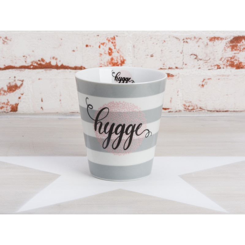 Krasilnikoff Becher Hygge hellgrau Happy Mug grau weiß Streifen aus Porzellan