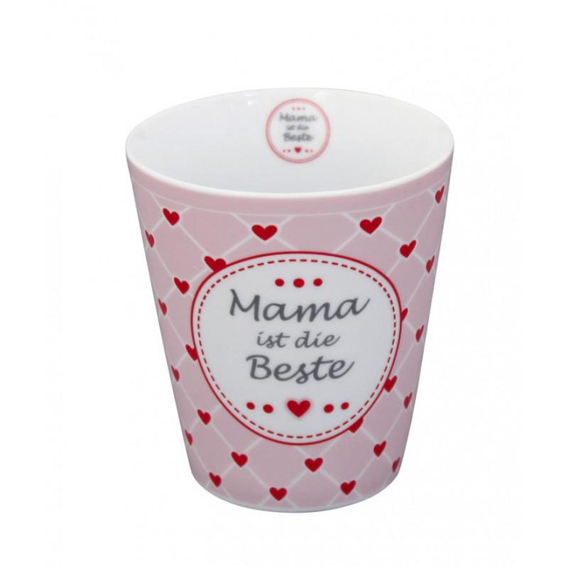 Krasilnikoff Becher Mama ist die Beste rosa mit roten Herzen Happy Mug Tasse ohne Henkel