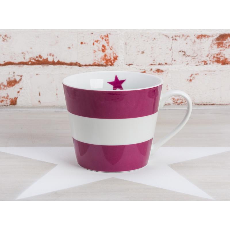 Krasilnikoff Becher Pflaume Blockstreifen Happy Cup Porzellan Tasse mit Henkel horizontal Streifen aubergine weiß mit Stern