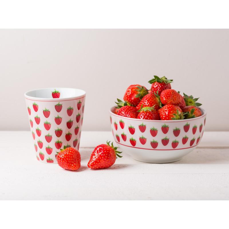 Krasilnikoff Becher rosa mit Erdbeer Motiv Schale mit Erdbeeren